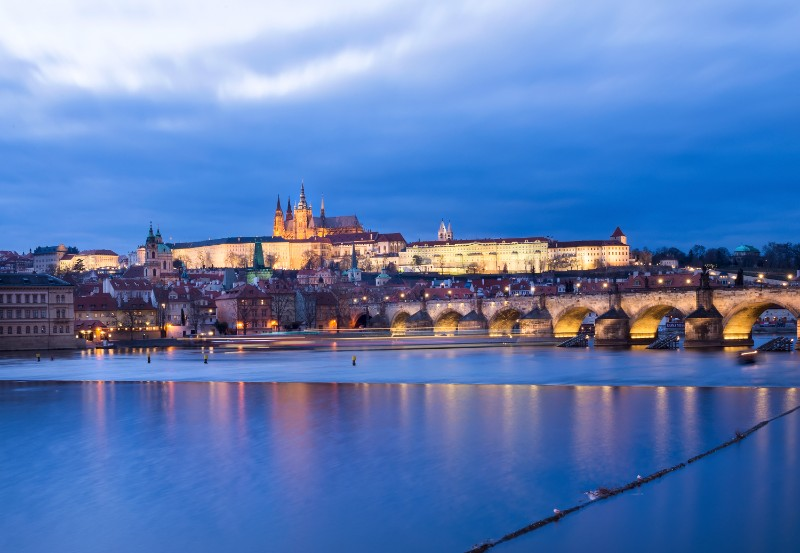 The view of the prague castle charles bridge and PTAYALL 1